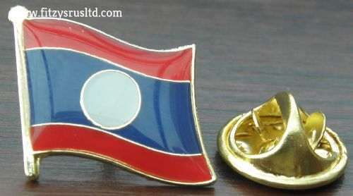Laos Flag Lapel Hat Cap Tie Pin Badge Sathalanalat Paxathipatai Paxaxon Lao New
